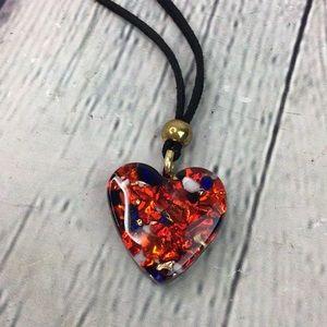 5/25 Boho Red Black Heart acrylic leather